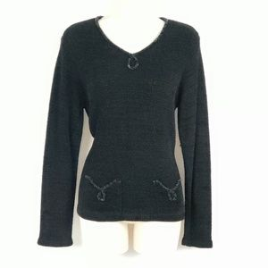 Vtg Talbots Chenille Sweater Womens Size Small Blk